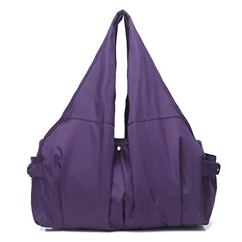 (Shoulder Bag for Women, Waterproof Shopping Lightweight Work Purse and Handbag Travel Tote Oxford Nylon Large Capacity Hobo (8022-PURPLE))
