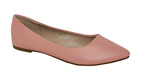 Bella Marie Angie-52 Women's Classic Pointy Toe Ballet Slip On Flats Shoes (6.5, Mauve Pu)
