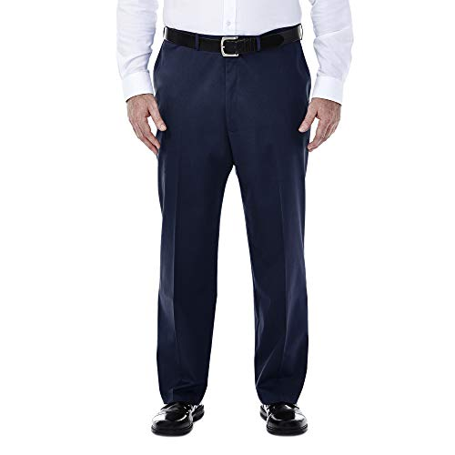 Haggar Men's Big-Tall Premium No Iron Classic-Fit Expandable-Waist Plain-Front Pant