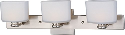 Maxim 9003SWSN Essence 3-Light Bath Vanity, Satin Nickel Finish, Satin White Glass, G9 Frost Xenon Xenon Bulb , 100W Max., Dry Safety Rating, 2700K Color Temp, Standard Dimmable, Glass Shade Material, 1150 Rated Lumens