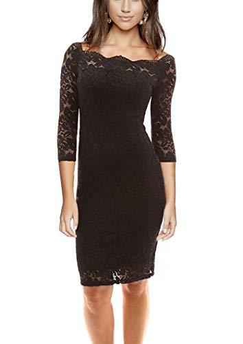 Women's Off Shoulder 3/4 Sleeve Bodycon Floral Lace Cocktail Party Wedding Dress (Black, M) ()
