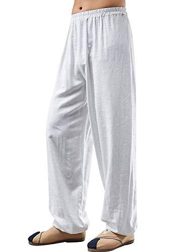 Elástica Battercake Cintura Los Lino Hombres Sueltos Pantalones Rectos Cómodo Primavera Verano De Algodón Sólidos Blanco Colores Largos Ligero Casuales wHIqFH