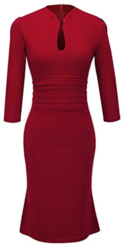 Homeyee® Women's Celebrity Vintage Tunic Prom Dress U823 (US Size 12, red) (Celebrity Red Dress)