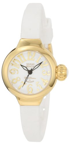 Glam Rock Women's MBD27131 Miami Beach Art Deco White Dial White Silicone Watch