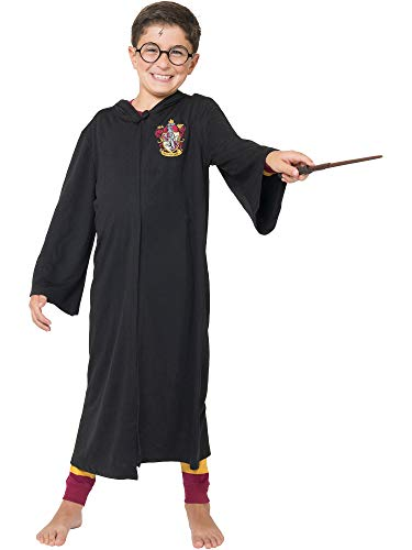 Harry Potter Big Boys' Harry Potter 'Hogwarts House Crest Magic Wizard Cloak' Costume Robe, Black, -