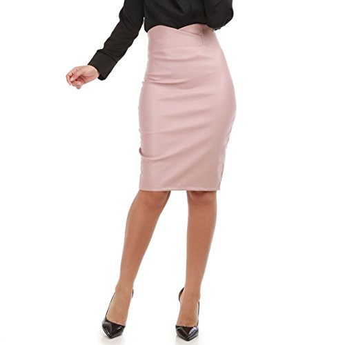 Haute Modeuse en Crayon Simili mi Rose Taille Jupe Cuir Longue La TwqBB