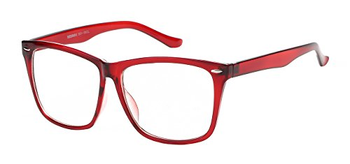 5zero1 Fake Glasses Big Frame Nerd Party Men Women Fashion Classic Retro Eyeglasses, - Hipster Red Glasses