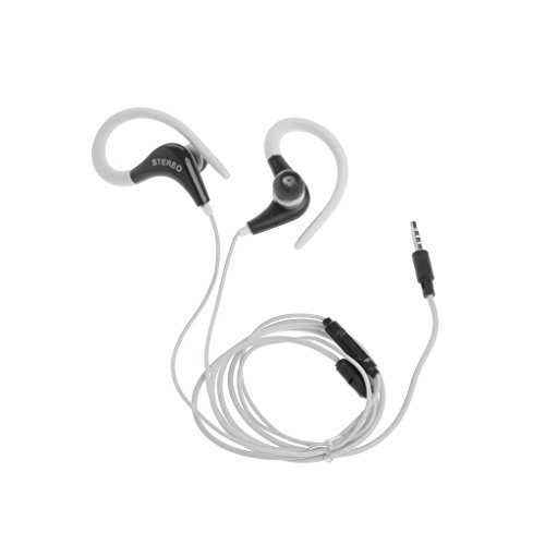 SCASTOE 3.5mm Ear Hook Stereo Earbud Headphone with Mic for Sony, Huawei, iPhone, Samsung, LG White