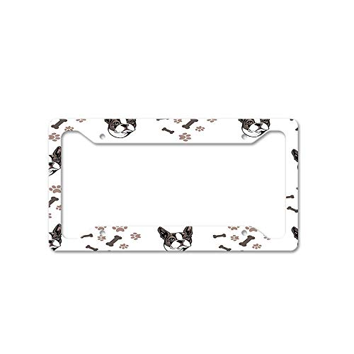 Boston Terrier Dog Breed Personalized Car License Plate Frame Tag Aluminum Metal, License Plate Holder Auto Accessory for US - Breed Standard Terrier Boston