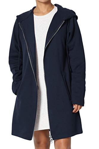 - TheMogan Women's Hoodie Oversized Zip Up Long Fleece Sweat Jacket Navy S/M