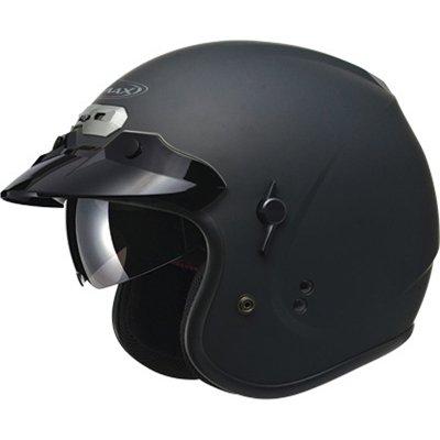 (Gmax GM32 with Flip Down Sun Shield Adult Open Face Motorcycle Helmet - Flat Black/Medium )