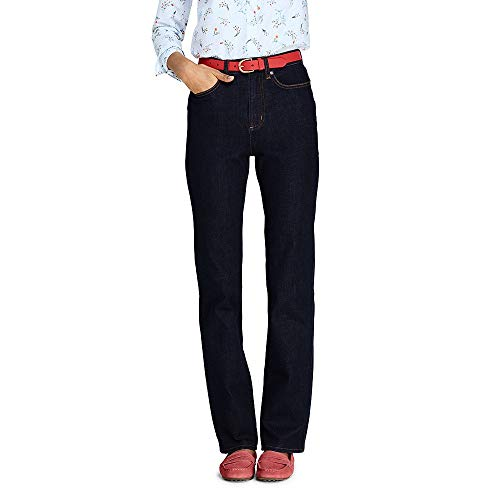 Lands' End Women's Petite High Rise Straight Leg Blue Jeans, 12 28, Deepest Indigo -