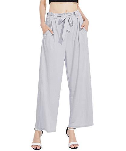 Women Linen Wide Leg Pant Casual Loose Soft Breathable Elastic Waist Beach Pants Palazzo TrouserFRKZ4YD_XGR_L