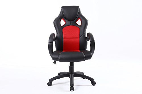 BTExpert Executive/High Back/Swivel/Racing/PU Leather/Office Chair, Ergonomic Gaming Computer Desk, Bucket Seat, Tilt Height Adjustment, Headrest Lumbar, Red