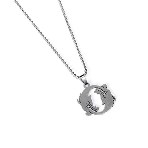 Onlyfo Stainless Steel Overwatch Hanzo Double Dragons Circle Pendant Necklace with Jewelry Box,Overwatch Necklace for Boys,Girls (Style A)