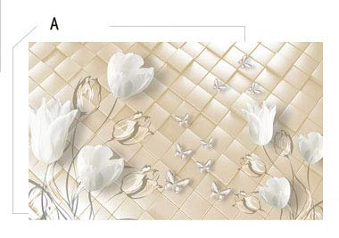 Bacaz Emboss Rhombus Flower Papel Mural 8d/3D Mural Wallpaper for TV Background Bedroom 3d Wall paper Photo Mural Wallcovering Color A Dimensions 1 square meter