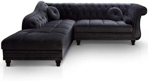 Menzzo A968VD Contemporain Brittish Canapé d'Angle BoisVelours Noir 240 x 180 x 80 cm