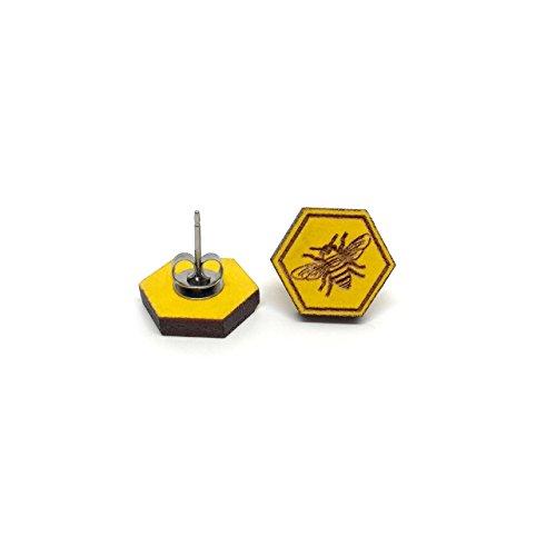 Bee and Honeycomb Earrings- Yellow Wood