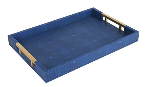 Home Redefined Beautiful Modern Elegant 18″x12″ Navy/Gold Brass Rectangle Shagreen Decorative Ottoman Coffee Table Perfume Living Room Kitchen Serving Tray with Metal Handles for All Occasion's