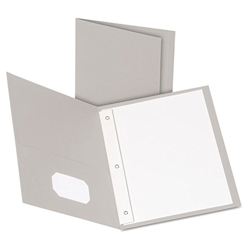 Esselte 57705 Paper Twin-Pocket Portfolio, Tang Clip, Letter, 1/2 in. Capacity, Gray, 25/Box ()