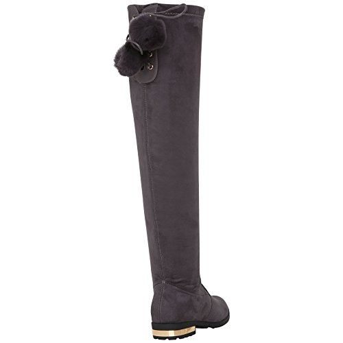 Shoes Knee Stretch Winter Womens Riding Grey High Over Low Heel Ladies Boots OxqFv