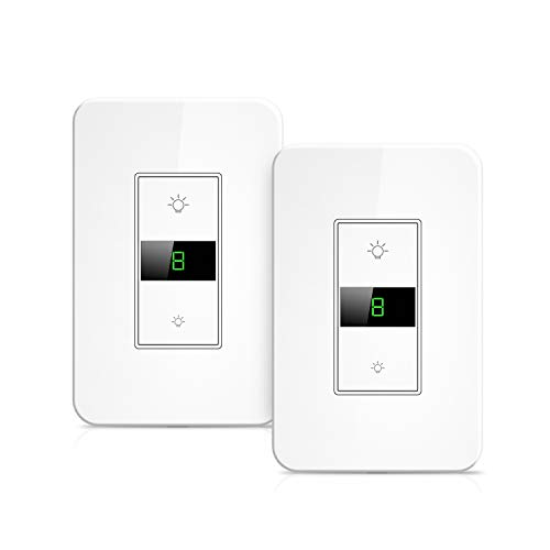 Smart Dimmer Switch, Maxcio Smart Light Switch Dimmable, Compatible with Alexa and Google Home, APP remote control, Timer/Schedule Function, No Hub Required - 2 Packs