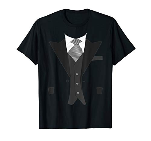 Funny Faux Fake Suit T-Shirt with Vest and -