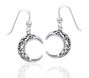 (Sterling Silver Celtic Knot Crescent Moon Earrings)