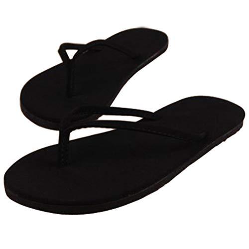 JORCOKA Women Rubber Flip Flops Thong Sandal Beach Slipper,Summer Casual Indoor and Outdoor Travel Shoes Black