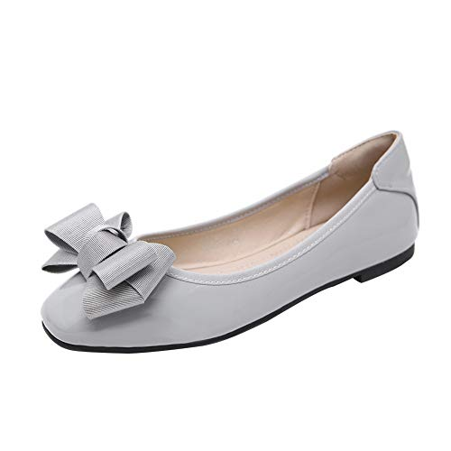 Meeshine Womens Foldable Bow Slip On Ballet Flats Dress Shoes(9 B(M) US,Gray 03)