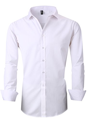 RS Men's Casual Long Sleeve Business Slim Fit Button Down Dress Shirts 18 White AS 4X/US L
