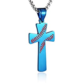 HZMAN Baseball Cross Pendant, I CAN DO ALL THINGS STRENGTH Bible Verse Stainless Steel Necklace 22+2″ Chain