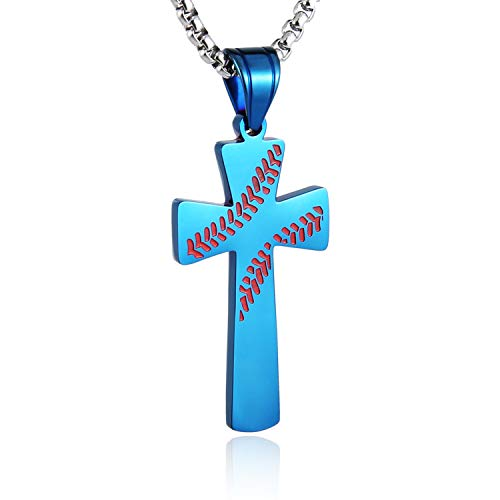 Cross Tag Pendant Dog - HZMAN Baseball Cross Pendant, I CAN DO All Things Strength Bible Verse Stainless Steel Necklace 24