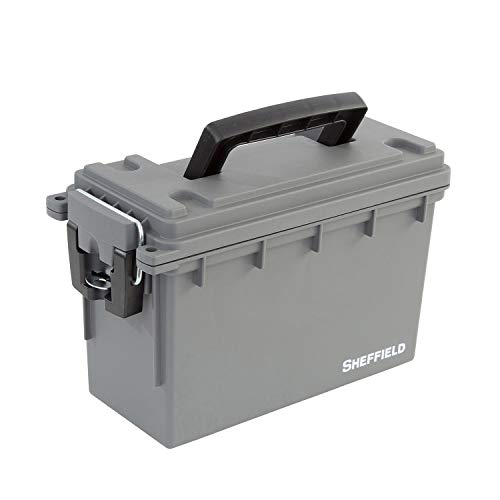 Sheffield 12628 Field Box | Great Pistol, Rifle, or Shotgun Ammo Storage Box or Tackle Box | Safe & Tamper-Proof with 3 Locking Options | Stackable and Water Resistant | Gray | Made in The U.S.A.