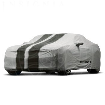 Outdoor Car Cover Gray with Black Stripes and Camaro Logo GM# 92223304 Fits Convertibles