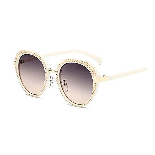 Lady's Protección sol para de redondas sol Retro mujeres Gafas de y viajar Punk Rivet para Style Unisex de Classic de Gafas Frame hombres Gafas UV de sol Gafas G Beige sol sol PC UV Gafas Retro Conducción 7tAw4