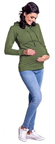 Zeta Ville - Premamá Sudadera de lactancia 2 en 1 capucha - para mujer - 272c Verde Oliva