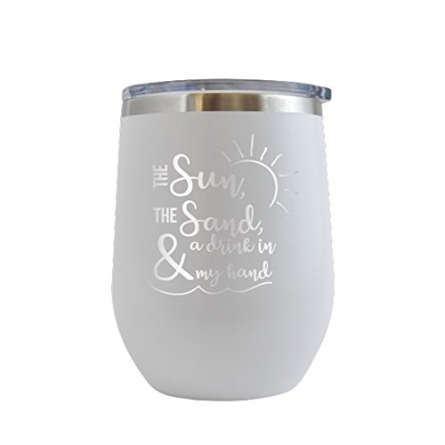 Sun,Sand,Drink In Hand Engraved 12 oz Wine Tumbler Cup Glass Etched - Funny Gifts for him, her, mom, dad, husband, wife (White - 12 oz)