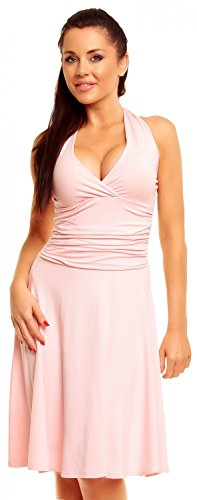Zeta Ville - Women's Ruched Waist Flattering Sleeveless Halterneck Dress - 145z5 (Powder Pink, US 12, XL) (Dress Powder)