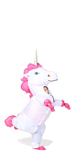 GOPRIME Unicorn Costume Horn Horse White Unicorn Inflatable Suit (Silver -