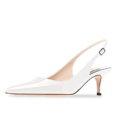 MODEMOVEN Women's White Patent Leather Pointed Toe Slingback Ankle Strap Kitten Heels Pumps Evening Stiletto Shoes - 8 M US