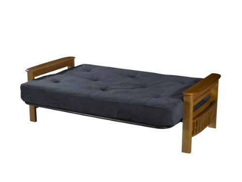 Primo International Providence Complete Futon with Wooden Arms and 8-inch Pocket Coil Matress with Pillows Cobalt
