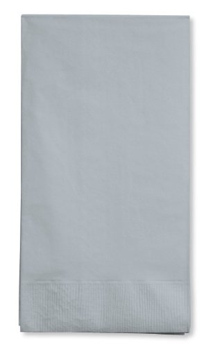 16-Count Touch of Color 3-Ply Paper Guest Napkin, Shimmering Silver