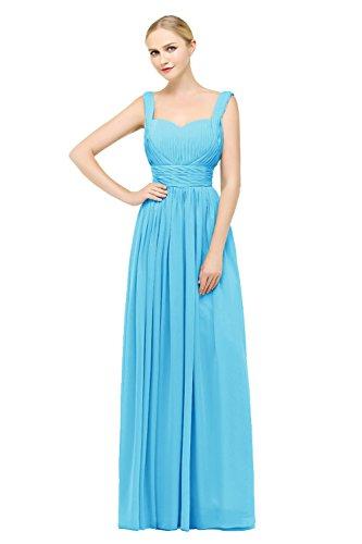 Bbonlinedress Vestido De Fiesta Madrina Largo Gasa Con Tirantes Espalda Descubierta Azul