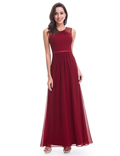 Ever-Pretty Womens Long Sleeveless Round Neckline Mother Of The Bride Dress 12 US Burgundy