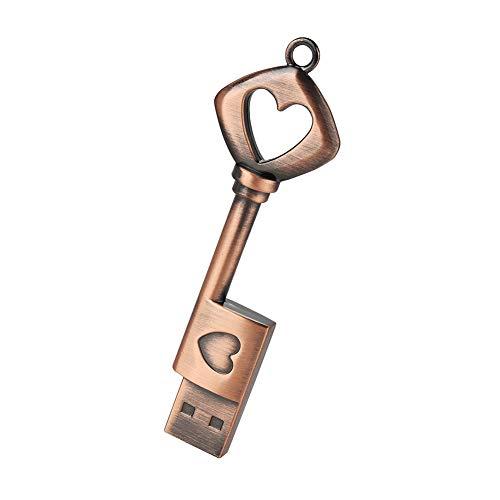 (zjr USB Drive 32 gb Pendrive Metal Copper Heart Key Model USB Flash Drive Memory Stick U Disk Metal Key flashdrive Cute)