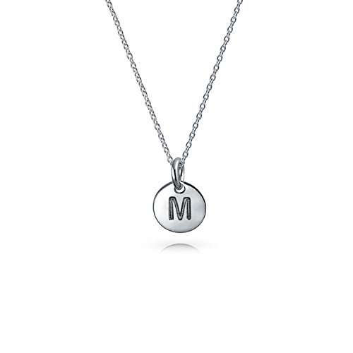 Tiny Minimalist Abc Round Disc Block Letter Alphabet M Initial Pendant Necklace For Teen For Women 925 Sterling Silver