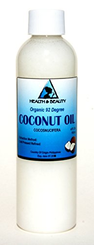 Coconut Oil 92 Degree Organic Carrier 100% Pure Cold Pressed 4 oz