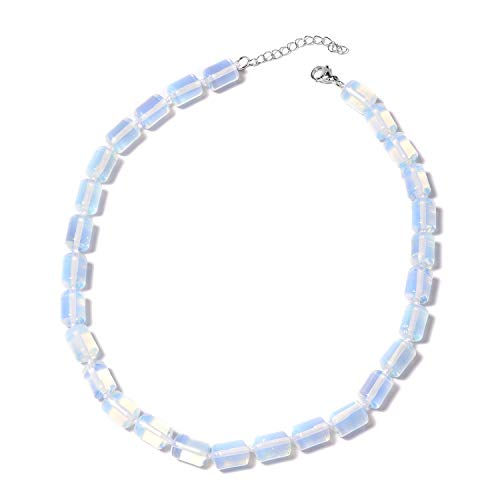 Shop LC Delivering Joy 925 Sterling Silver Opalite Beads Strand Necklace for Women Jewelry Gift 18