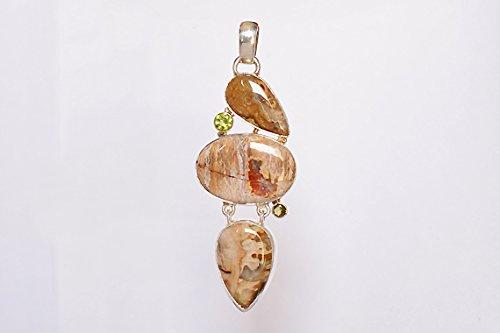 Top Class Natural Peanut Wood jasper /& Peridot Gemstone 925 Solid Sterling Silver Pendant FSJ-160